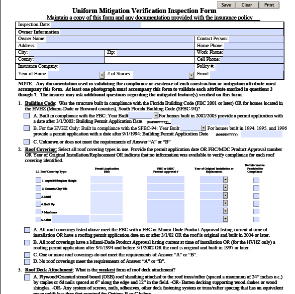 Wind Mitigation Form 4pointinspectionform